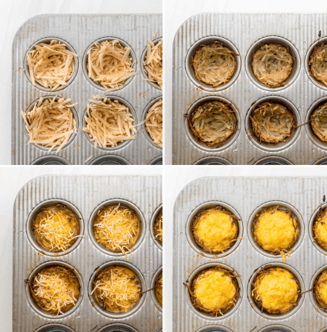 Process shots showing how to make the egg nests in a muffin tin