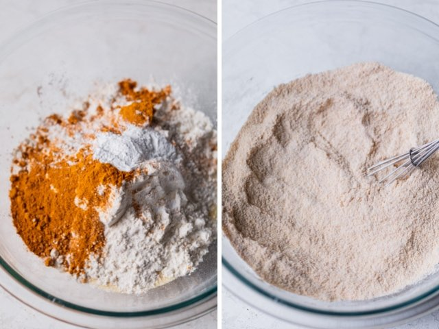 Collage of two images showing the dry ingredients before and after mixing