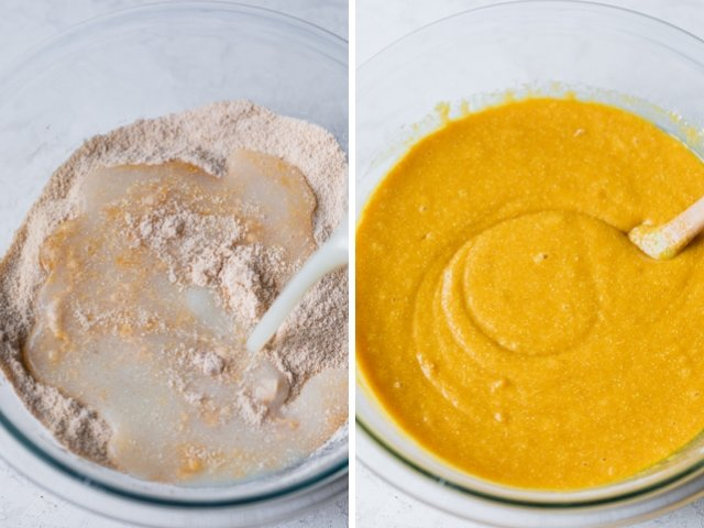 Collage of two images showing sfouf batter before and after mixing