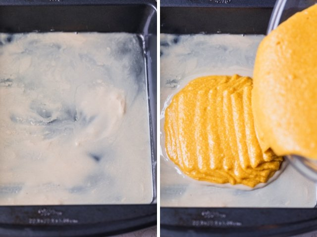 Collage of two images showing the pan greased with tahini and the batter getting poured over the tahini