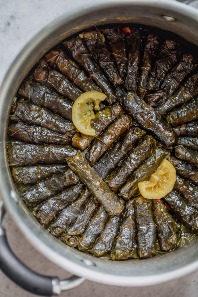 Vegetarian Stuffed Grape Leaves rolled up and stacked in a deep pot with seasoning on top and two slices of lemons - after finished cooking