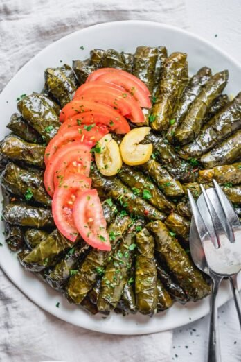 overhead shot Vegetarian Stuffed Grape Leaves