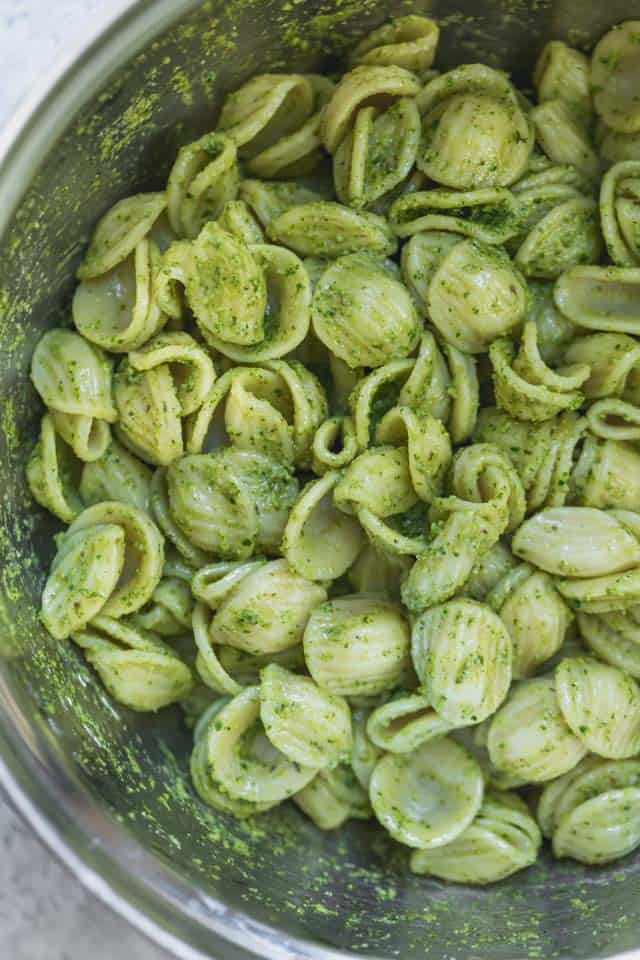 Orecchiette pasta in a large bowl mixed with the pesto sauce