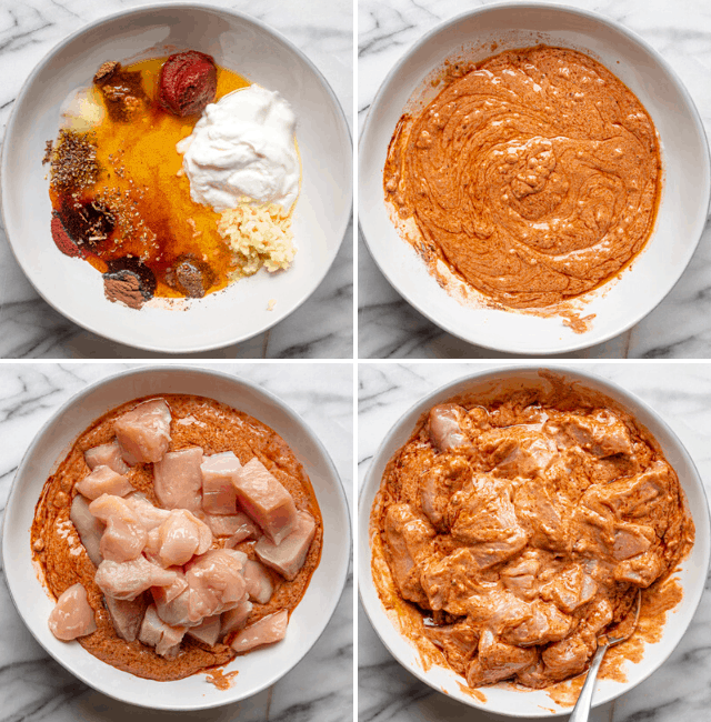 Process shots for how to make the shish tawook chicken marinade