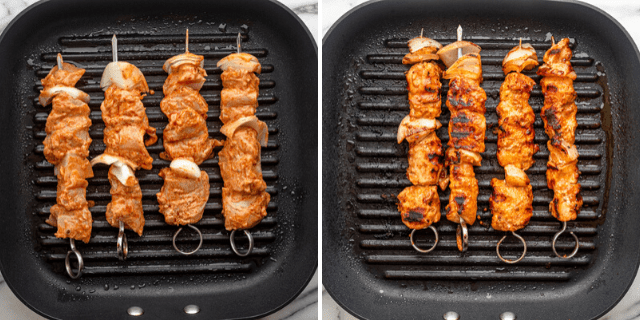Process shots showing the chicken on skewers before and after grilling