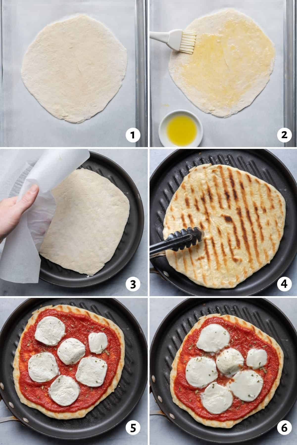 6 image collage to show how to make the recipe on an indoor grill pan