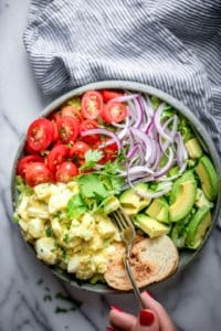 Healthy Egg Salad in a blue bowl
