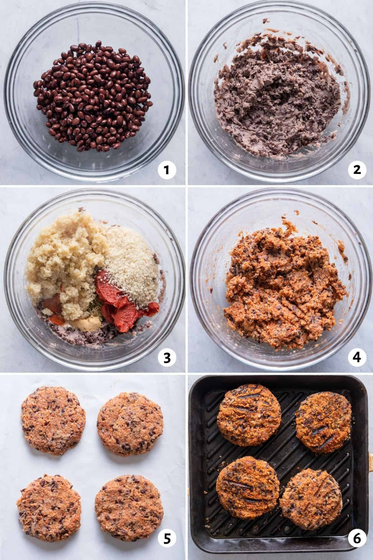 6 image collage to show how to mash the beans, mix with the other ingredients, form patties and cook the patties on a skillet
