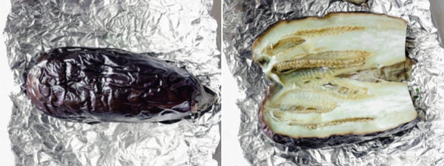 Collage of two images showing the eggplant after roasting whole and then cut in half