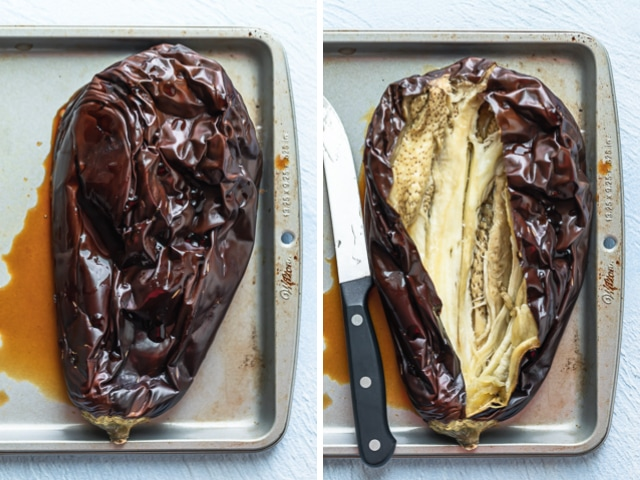 Collage showing eggplant that roasted on the left and cut up on the right - ready to make baba ghanoush dip