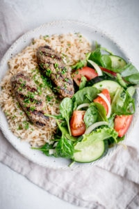 This is a Lebanese style beef kafta recipe that's made with ground beef, parsley, onions and a blend of Middle Eastern spices - an easy yummy grilled recipe