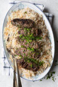 Lebanese style beef kafta served over rice