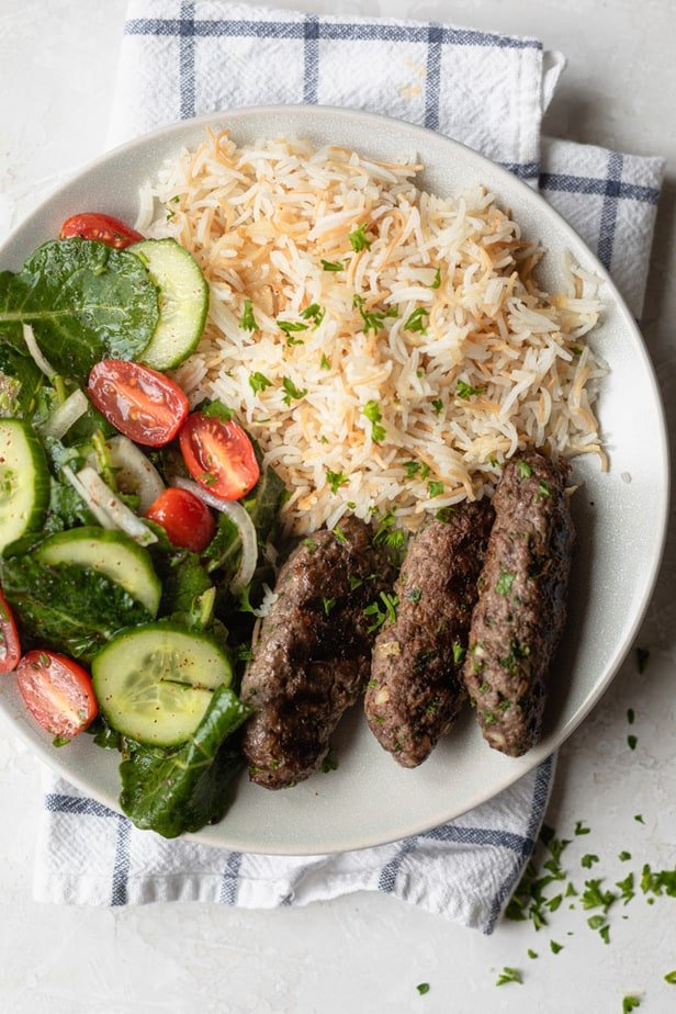 Lebanese style beef kafta served with vermicelli rice and a salad