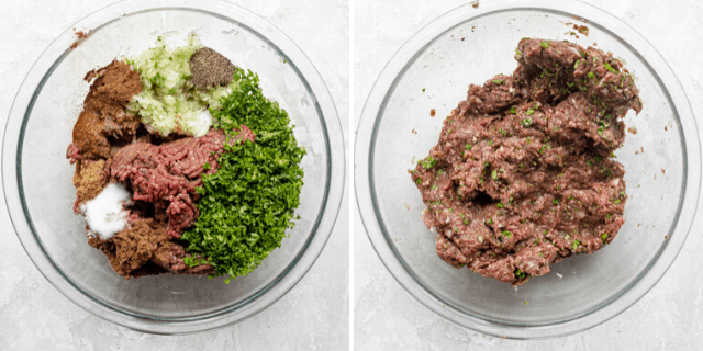 Process shots of the beef, onions, parsley and spices before and after mixing