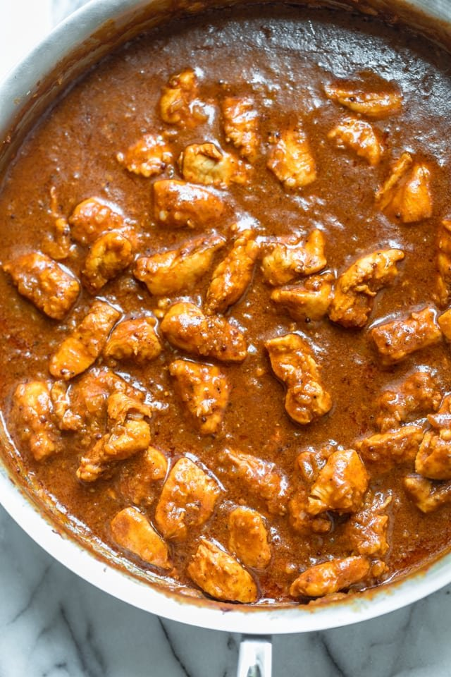 Easy butter chicken after 20 minutes of cooking in the skillet