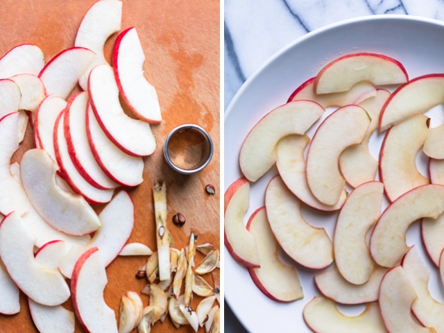 Collage showing sliced apples on the left and the same sliced apples on a round white plate on the right after they were microwaed