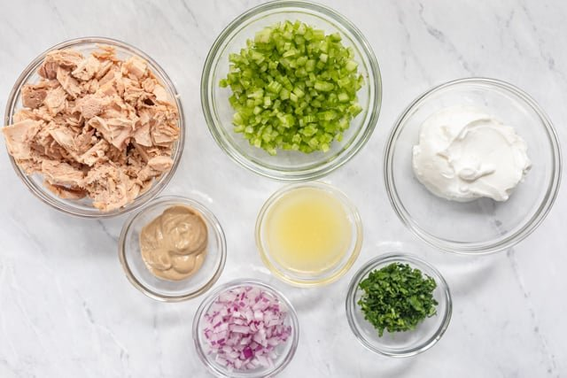 Ingredients to make the recipe gathered in bowls