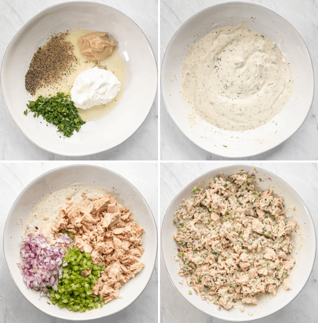 Step by step photos for how to mix the tuna salad