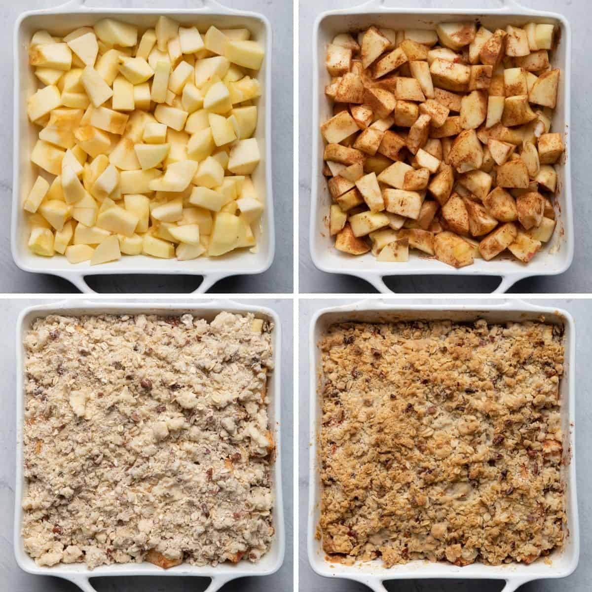 4 image collage of the apples in baking dish with steps for how to prepare them