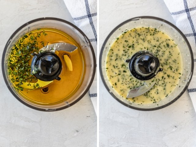 Collage of two images showing a small blender with the dressing ingredients for the pear salad before and after blending