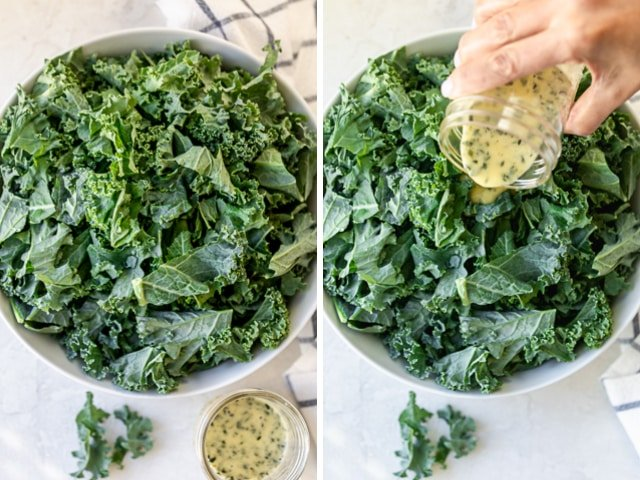 Collage of two images showing the kale before and after pouring the dressing