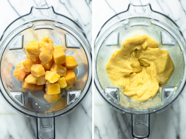 Before and after collage showing frozen mango and coconut milk in the blender before and after blending.