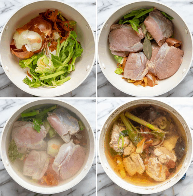 Process shots to show how to make homemade chicken broth
