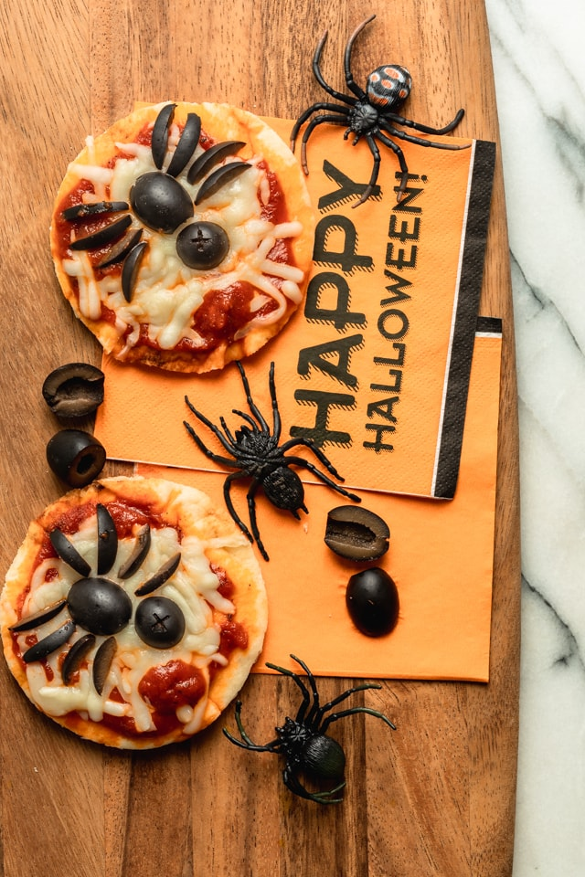 Halloween Snack 2: Assembled Spider Pizzas made with bread, pizza sauce, cheese and olives