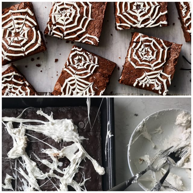 Pinterest Fail collage - beautifully decorated brownies and my attempt