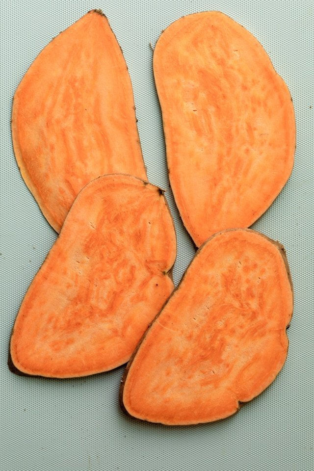 Slices of sweet potatoes for the sweet potato toast