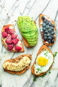 Sweet Potato Toast 5 ways