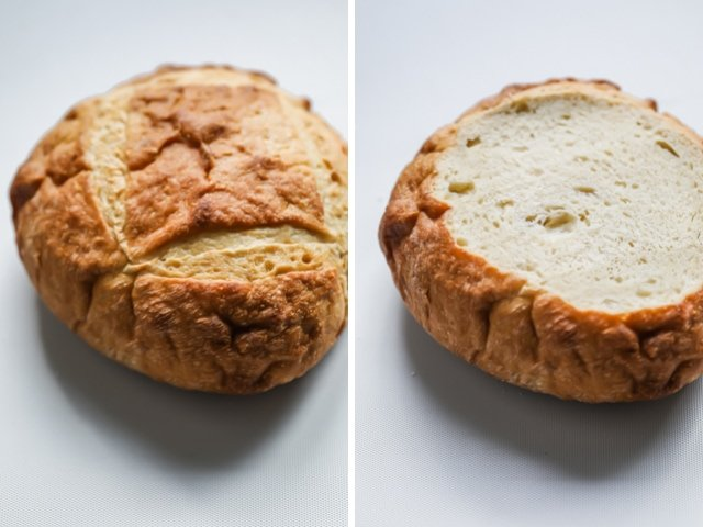 Collage of bread boule before and after slicing the top part