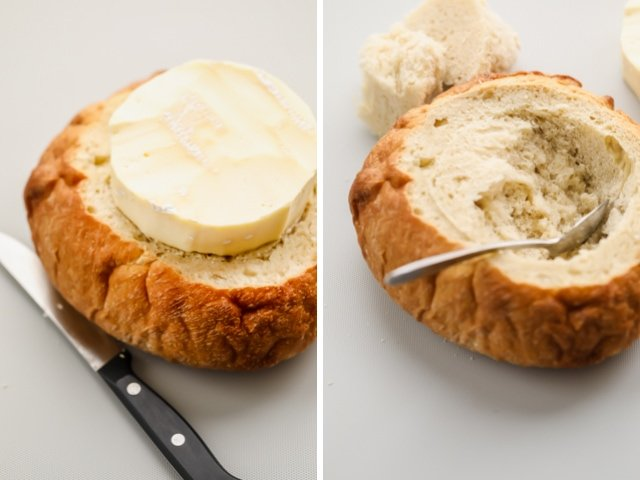 Collage of bread boule with brie on top of one to measure the circumference for cutting and with a spoon hallowing the bread on the second image
