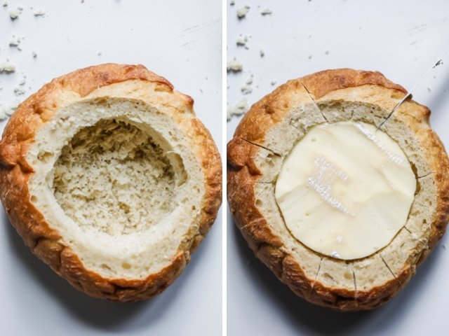 Collage of two images. Left image shows bread hallowed out. Right image shows the bread cut into slices all around with brie inserted in the middle