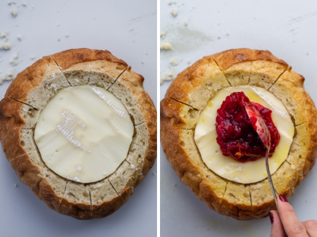 Collage of two images, left image showing the brie wheel inside the bread boule and right image showing the cranberry sauce getting spooned over the brie cheese