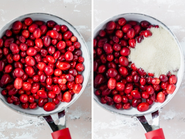 Small saucepan with fresh cranberries without and with cane sugar