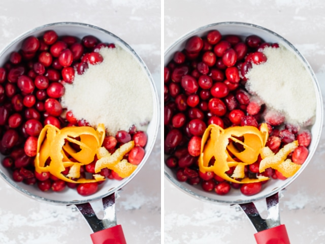Collage of two images showing a saucepan with cranberries, sugar and orange zest on one side, and the added water and orange juice on the other side