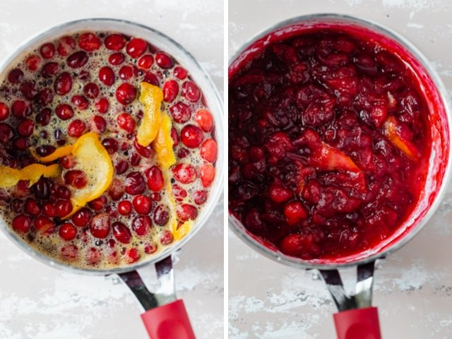 Collage of two images showing the cranberry orange sauce mid-way cooking and when it's done cooking