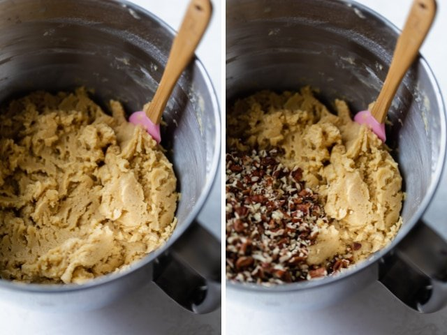 Mixing bowl showing the cookie dough before and after adding chopped pecans