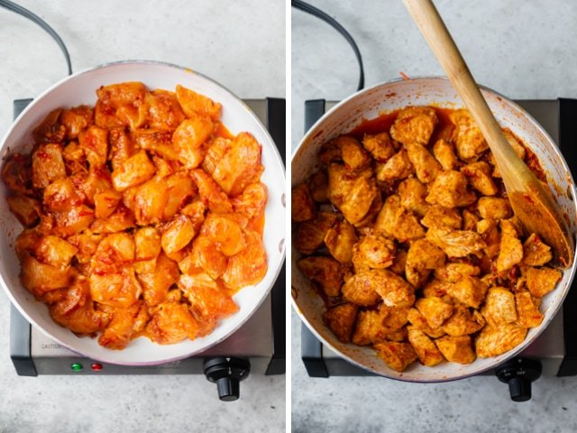 Harissa chicken in a large saute pan before and after cooking