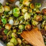Close up of pan roasted brussel sprouts in skillet