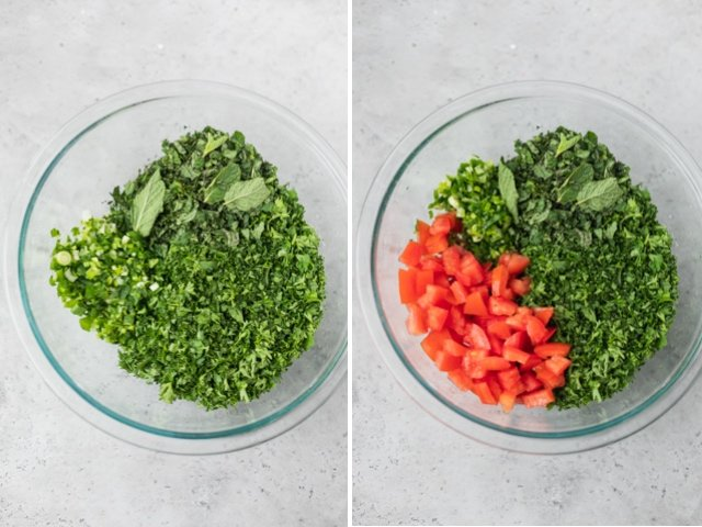 Collage of two images showing the quinoa tabbouleh assembly: parsley, mint and tomatoes