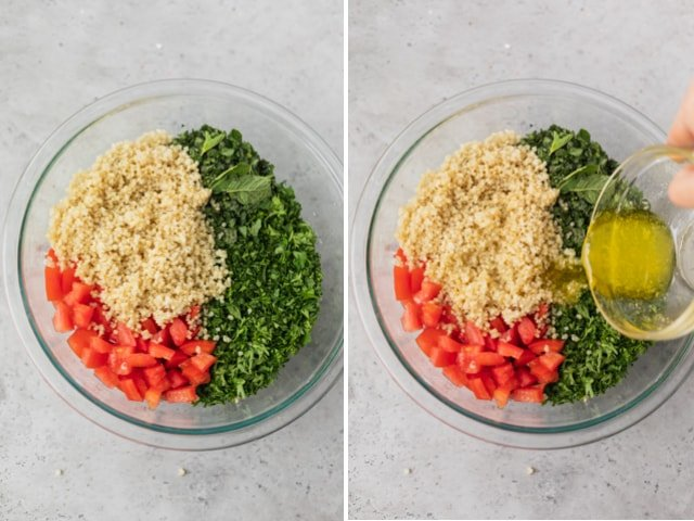 Collage of two images showing the quinoa tabbouleh assembly: parsley, mint and tomatoes, then quinoa and the dressing