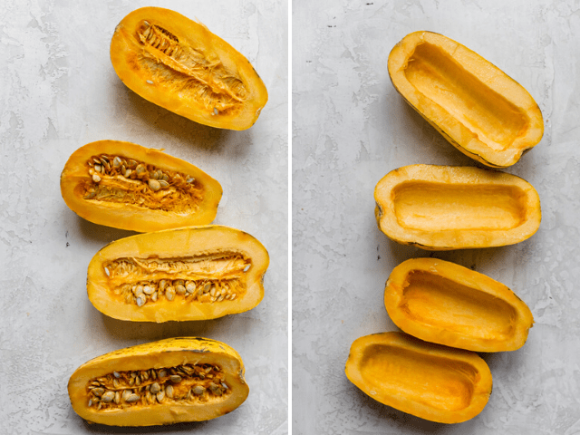 Two delicata squashes, cut in half lengthwise and then seeded - shown as a collage