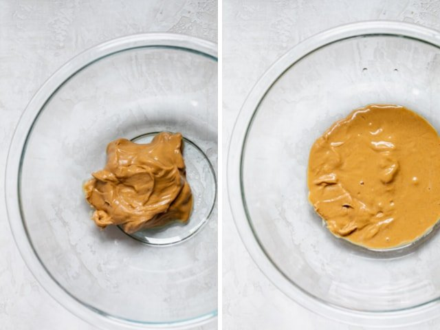 Collage of two images with peanut butter in a bowl before and after melting