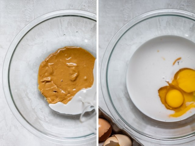 Collage of two images. Melted peanut butter and milk on the left and eggs added on the right