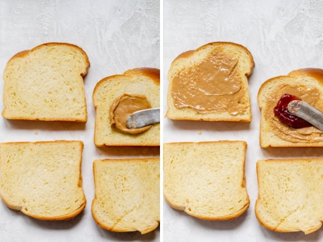 Collage of two images showing the spreading of peanut butter on the toast, then adding the jam over the peanut butter