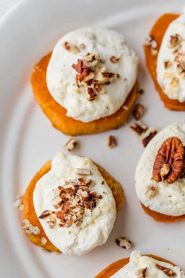 Close up of the sweet potato rounds with marshmallows and pecans