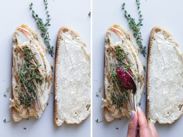 Collage showing how to make a turkey panini using leftovers