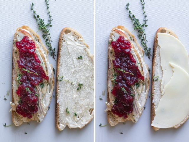 Collage showing how to make a turkey panini using leftovers - ready to be grilled